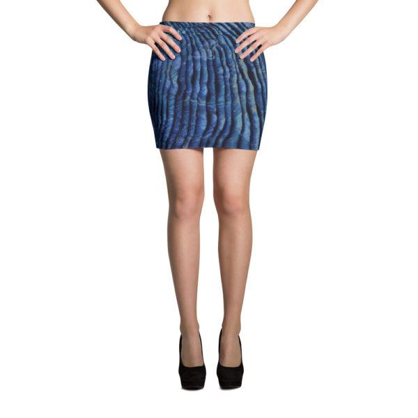 model wearing blue skirt